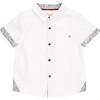 Mini boys white bandana print shirt