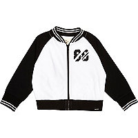 Mini boys white mesh 88 bomber jacket