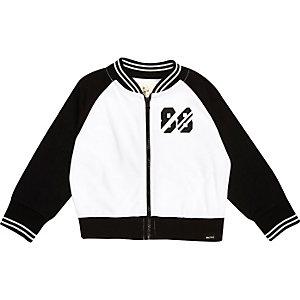 Mini boys white mesh 88 bomber jacket