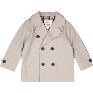 Mini boys light grey trench coat