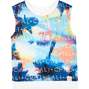 Mini boys blue Cali print tank top