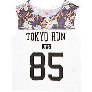 Mini boys white Tokyo Run tank top