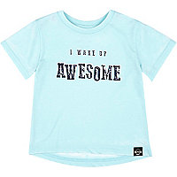 Mini boys blue awesome print t-shirt