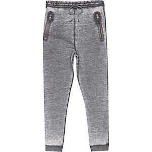 Boys grey burnout drop crotch joggers