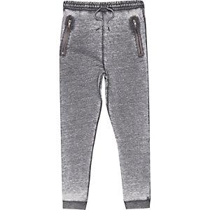 Boys grey burnout drop crotch joggers