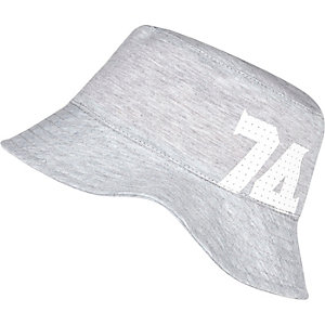 Boys grey jersey 74 bucket hat
