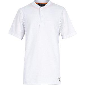 Boys white longer length baseball t-shirt