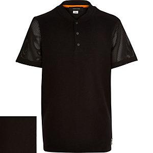 Boys black mesh sleeve baseball t-shirt