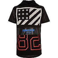 Boys black mesh hooded NY t-shirt