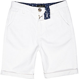 Boys white chino shorts