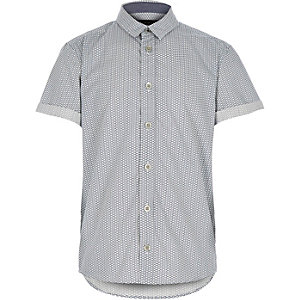 Boys ecru printed short sleeve shirt