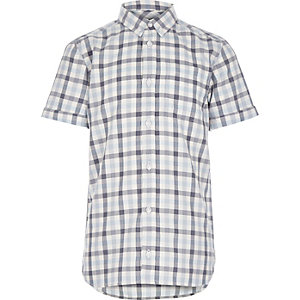 Boys blue gingham check shirt