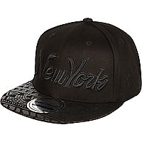 Boys black New York Aztec print cap