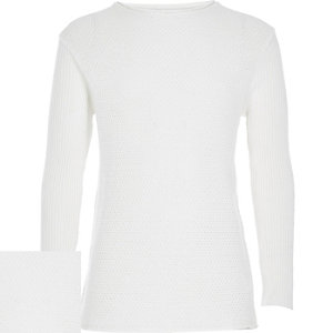 Boys white knitted long sleeve jumper