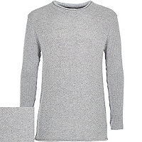 Boys grey grey knitted long sleeve jumper