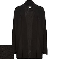 Boys black knitted open cardigan