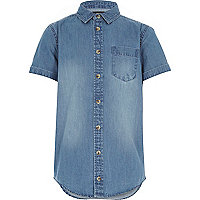 Boys mid wash denim short sleeve shirt