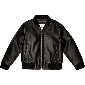 Mini boys black perforated bomber jacket