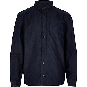 Boys blue denim long sleeve shirt