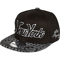 Boys grey New York Aztec print cap