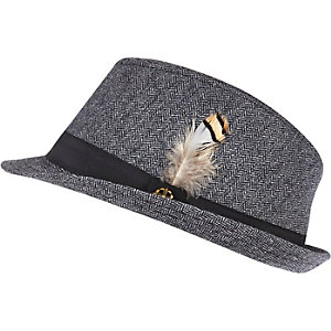 Boys navy herringbone trilby hat