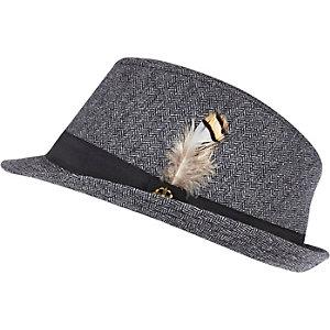 Boys navy herringbone trilby hat