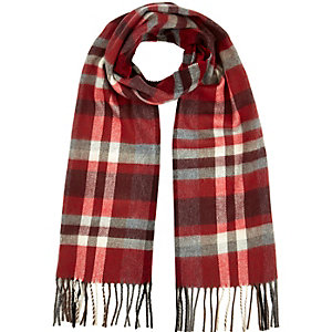 Boys red woven check scarf