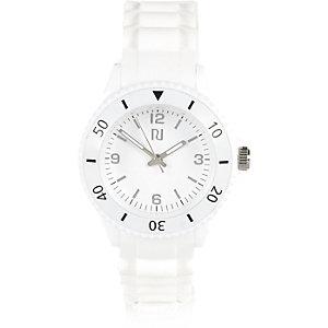 Boys white rubber sporty watch