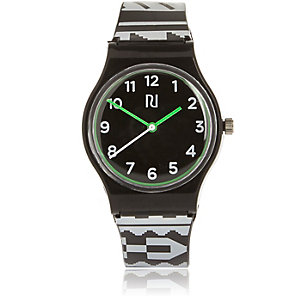 Boys black geometric print watch