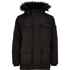 Boys black Bellfield parka coat
