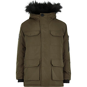 Boys khaki Bellfield parka coat