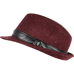 Boys red leather-look trim trilby hat