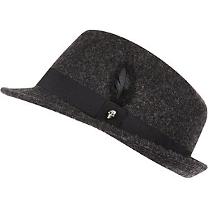 Boys black feather trilby hat
