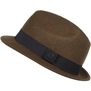 Boys khaki fedora hat