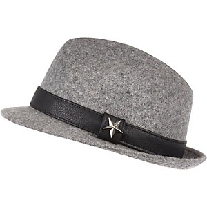Boys grey fedora hat