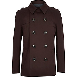 Boys dark red mac coat