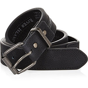 Boys black zip belt