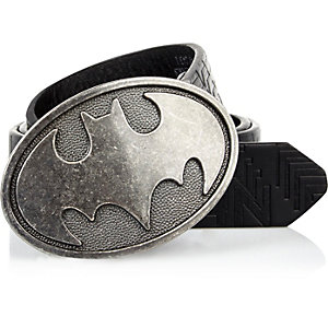 Boys black Batman embossed belt
