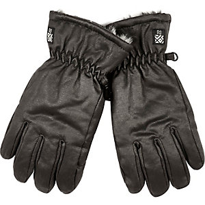 Boys dark brown ski gloves