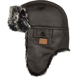 Boys faux-fur lined trapper hat