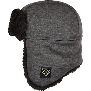 Boys grey jersey trapper hat