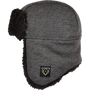 Boys grey jersey trapper hat