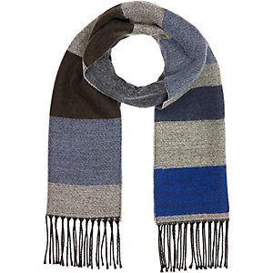 Boys blue stripe scarf