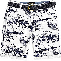Boys white palm print belted shorts