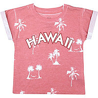 Mini boys red Hawaii print t-shirt