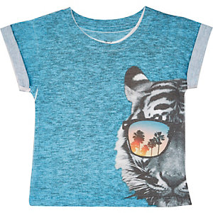Mini boys blue tiger sunglasses print t-shirt