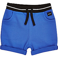 Mini boys blue jersey tipped shorts