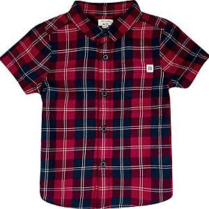Mini boys red check shirt