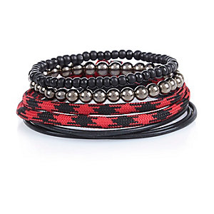 Boys red cord bracelet set