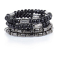 Boys black bracelet set